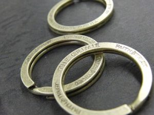 オリジナル・特注のブランドロゴ入りダブルリング金具のオーダーメイド