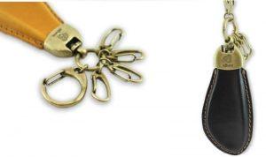 革巻き式のオーダーメイド、オリジナルロゴ入り、くつべら式キーホルダーの製作事例