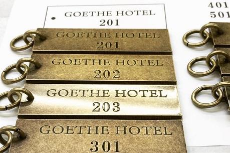 部屋番号入り、ホテルルームキーとオリジナルアクセサリーチャームのオーダー