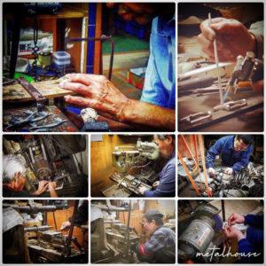 金属を切る職人、打ち抜く職人、曲げる職人、穴を開ける職人、原型を作る職人、鋳物の技術を持つ職人、メッキ職人、縫製職人、革なめし職人