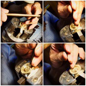 金属を切る職人、打ち抜く職人、曲げる職人、穴を開ける職人、原型を作る職人、鋳物の技術を持つ職人、メッキ職人、縫製職人、革なめし職人、 、、