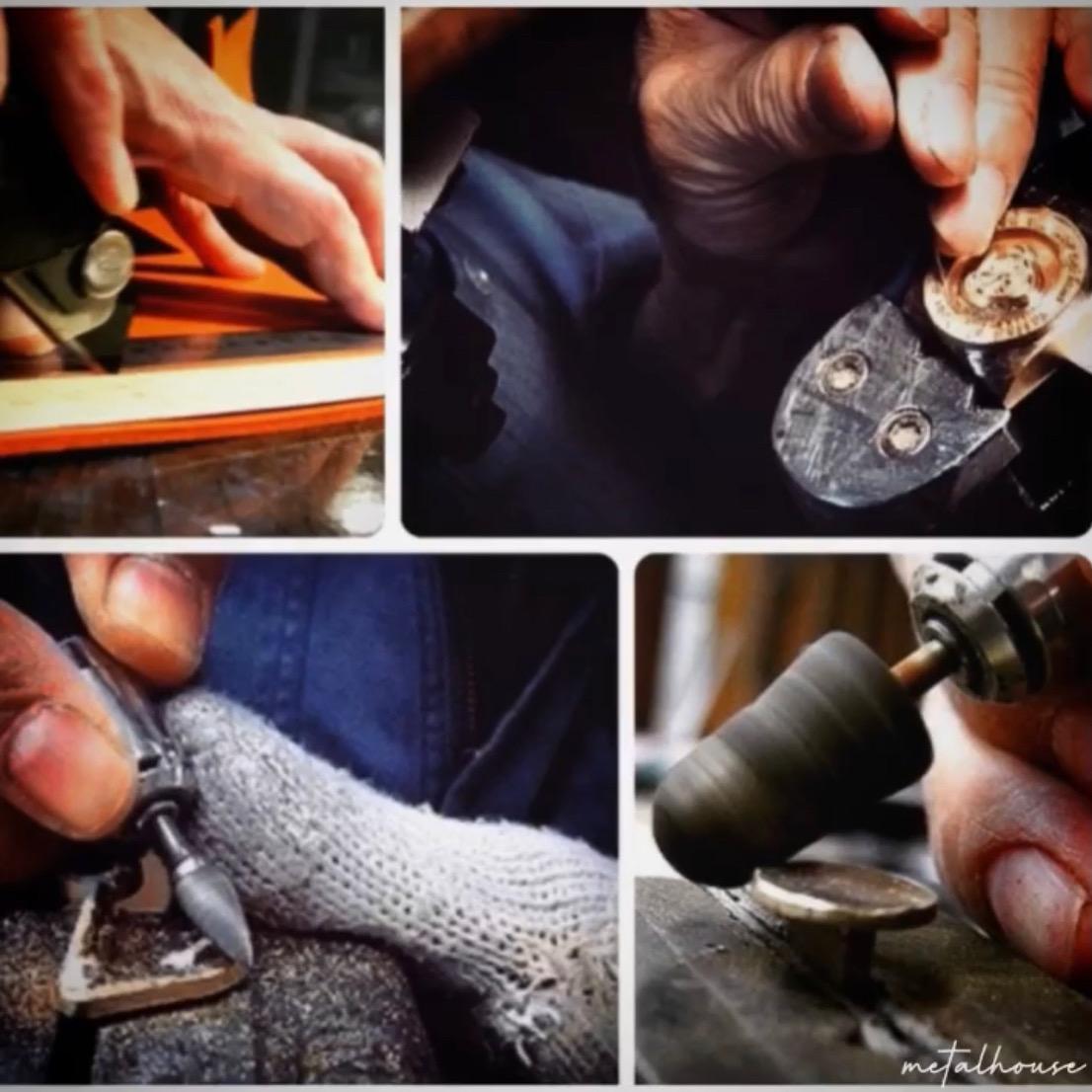 金属を切る職人、打ち抜く職人、曲げる職人、穴を開ける職人、原型を作る職人、鋳物の技術を持つ職人、メッキ職人、縫製職人、革なめし職人、 、、  🔨 オーダーメイドのモノ作りは、熟練の職人や技術、慣れ親しんだ機械や道具に支えられています。歴史を刻んだ職人や機械や道具。長年の経験と歴史を積み重ねてきたメタルハウスだからこそ作れる誰にも真似できないモノづくりがあります。