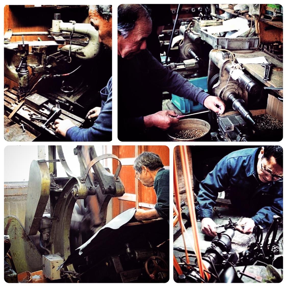 🔨 金属を切断、彫刻、削り、穴あけ、ねじ切りに特化した技術。  🔨 挽き物とは金属を挽いて、金具を切り出したり、金属に溝を彫ったり、作ったりする技。真鍮の板材、丸材をメインの素材として扱い、デザインや図面に合わせて形を成形していく、1920年代から続く、古くからある日本の伝統技術。