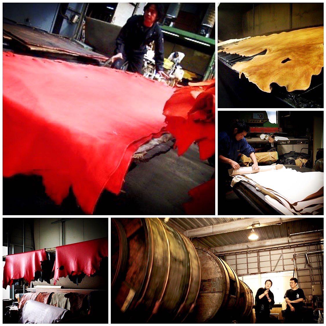 """""""原皮""""から""""革""""に変化させる大切な工程の一部。使い慣らされた数メートルもある大きな木製のタンクを使い丁寧に長い時間を掛けて肌に馴染む、心地の良い革に作り上げていきます。"""