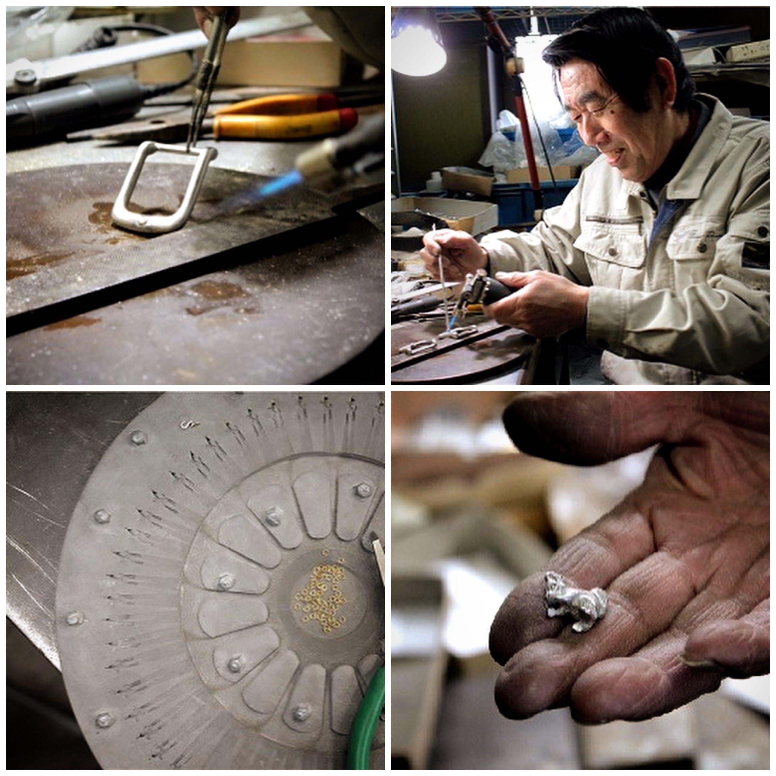 通常は、共通のデザインでも複数の用途に使用するオリジナル金具は、それぞれの用途に合わせて複数金型を作成する必要がありますが、メタルハウスでは、裏 面に様々な用途のパーツを溶接することで、1つの金型にて、複数の用途に使用可能なオリジナル金具を作成することが可能になりました。