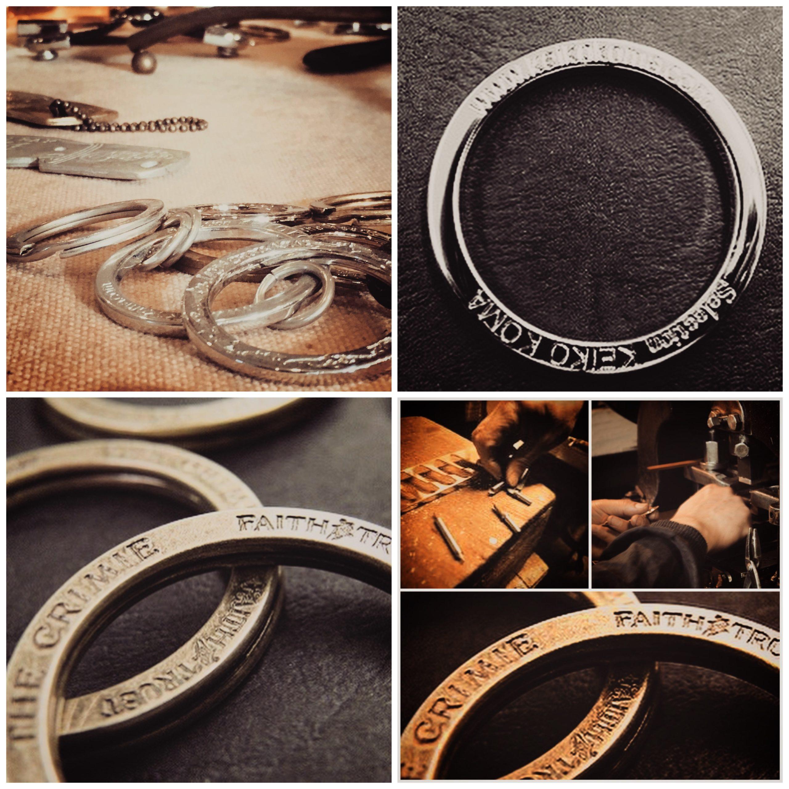 オーダーメイドでオリジナルの刻印入り、ダブルリング、アクセサリーキーホルダー金具を製作