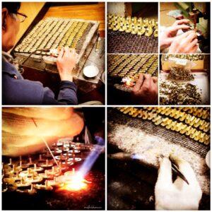 真鍮は加工もしやすく、そのままの状態でも、メッキ加工をしても上質な素材です。真鍮製オリジナル・特注のネームホック、カシメ、スタッズ、バックル、アクセサリー色々。