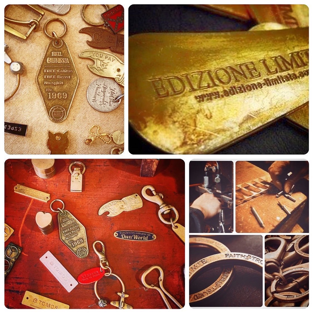 """メタルハウスでは、オリジナルの金具を製作する職人達と同様に、熟練の縫製職人、縫製工場との強い結びつきがあります。そこで、今までは分業が当たり前だった、金具の技術と縫製の技術を声の届く距離に位置づけ、組み合わせる事で、""""オリジナル金具の製作""""から、""""オリジナルの革小物""""、""""金属小物""""などの""""完成品の製作""""のお手伝いができるようになりました。"""