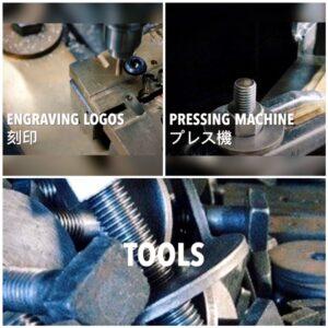 金属を正確に挽くことだけが技ではありません。金具の型そのものも職人の手から生み出されています。 バッグ、財布、ベルト、自転車、楽器、、、、オリジナル金具はここから始まっていきます。50年以上前から使用している、旋盤(ネジを作成したり、丸い金属を加工する機会)です。先代から使用している機械なので、職人とおおよそ同じ年齢ですかね~。