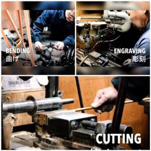 金属を切断、彫刻、削り、穴あけ、ねじ切りに特化した技術。 挽き物とは金属を挽いて、金具を切り出したり、金属に溝を彫ったり、作ったりする技。真鍮の板材、丸材をメインの素材として扱い、デザインや図面に合わせて形を成形していく、1920年代から続く、古くからある日本の伝統技術。